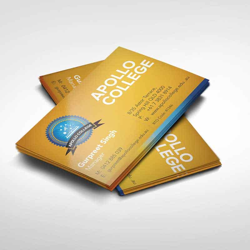 Apollo College business cards - printing and graphic design services